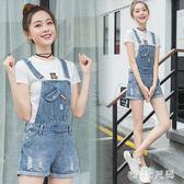破洞牛仔背帶短褲夏季韓版學生寬鬆闊腿吊帶高腰連體褲 QQ20743『MG大尺碼』