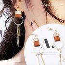耳環《可改夾式》《可改S925銀針》簡約皮革流蘇耳釘耳針 (SRA0040) AngelNaNa