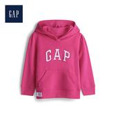 Gap 女幼童 棉質亮色徽標套頭連帽衫 567905-亮玫粉
