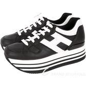 HOGAN Maxi H222 黑色厚底繫帶休閒鞋 1820126-01