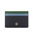 【TORY BURCH】拼色防刮皮革卡片夾(海軍藍/藍色/綠色) 80136 417