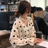 春季新款網紅港味chic百搭羽毛波點襯衫女打底蕾絲衫襯衣『小宅妮時尚』