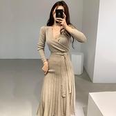 綁帶洋裝 韓國法式V領交叉修身綁帶高腰顯瘦壓褶長款過膝針織洋裝女-Milano米蘭