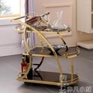酒店手推車個性時尚不銹鋼鋼化玻璃餐車酒店專用三層手推車酒水車LX 非凡小鋪