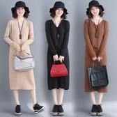 冬裝新款韓版時尚文藝V領毛衣中長款秋冬長袖針織打底衫 超值價