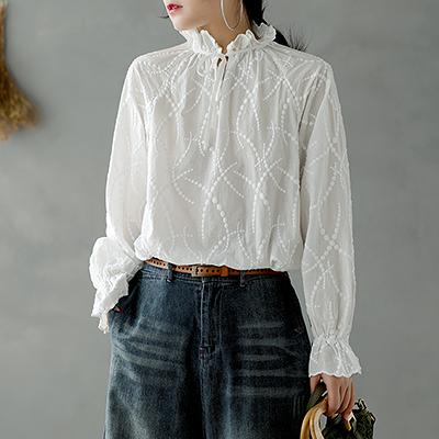 純棉襯衫 刺繡繫帶襯衫 白襯衫 木耳領長袖襯衫-夢想家-0110