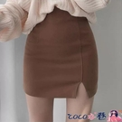 熱賣短裙 高腰包臀短裙女春季新款黑色毛呢半身裙顯瘦開叉一步裙a字包裙子 coco
