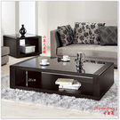【水晶晶家具/傢俱首選】維達130cm黑色實木貼皮強玻大茶几~~小茶几另購 JM8269-5