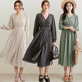 現貨-MIUSTAR 側雙釦不規則水波點雪紡洋裝(共4色)【NJ0135】