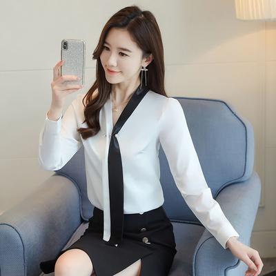 雪紡衫女長袖襯衫6614藍色襯衫女V領拼色系帶設計感小眾上衣小衫潮T654-C.依品國際