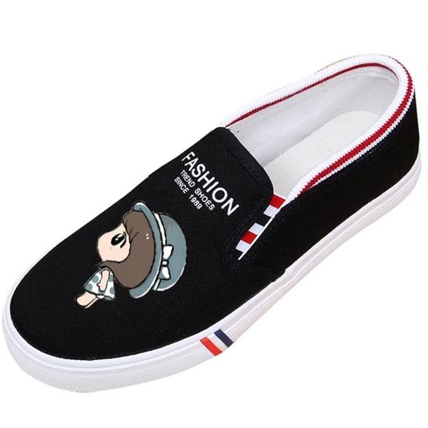 韓版百搭塗鴉帆布鞋一腳蹬懶人鞋休閒平底女學生布鞋 【快速出貨】