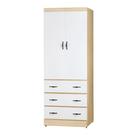【采桔家居】尼摩 時尚2.5尺二門衣櫃/收納櫃(二色可選+三抽屜+穿衣鏡)