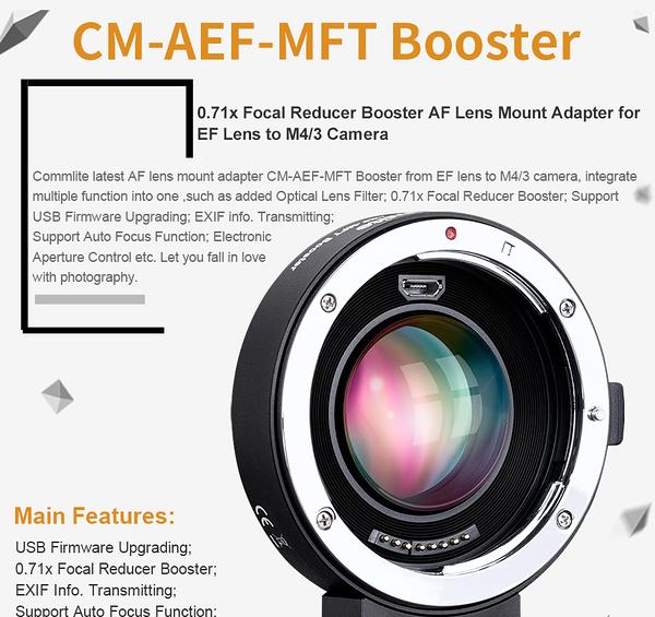 【聖影數位】Commlite CM-AEF-MFT BOOSTER 0.71X 佳能EF鏡頭轉M4/3卡口相機 減焦增光電子環 可自動對焦