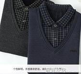 中年爸爸冬裝保暖針織打底衫老年男士加絨加厚毛衣爺爺款秋季上衣 蘇菲小店