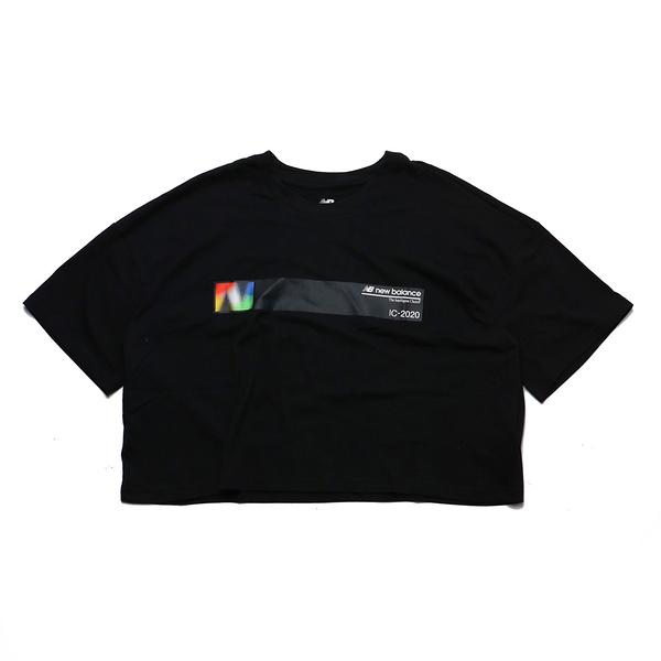 NEW BALANCE 黑 彩色 黑條紋 短版T 短袖T 女 ㄒ(布魯克林) AWT03525BK