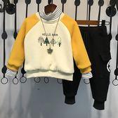 新款秋冬裝兒童韓版衛衣洋氣寶寶加絨加厚兩件套潮衣