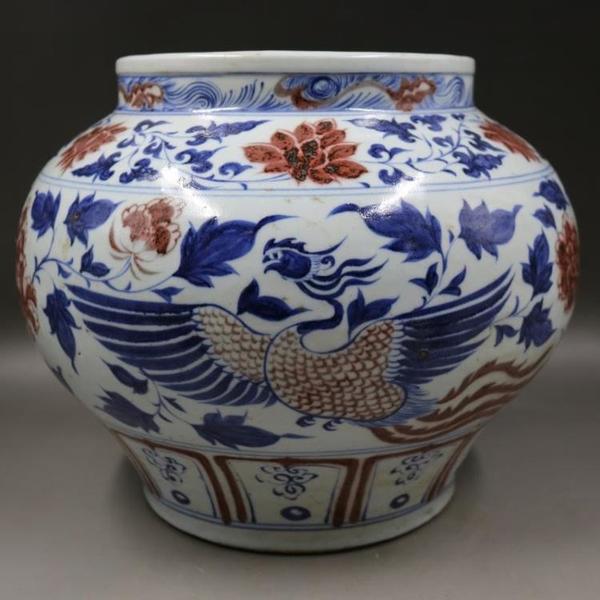 元青花釉里紅穿花鳳紋罐手繪仿古老貨瓷器家居擺件古董古玩收藏31入