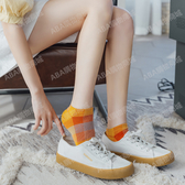 襪子女短襪淺口夏季薄款可愛ins潮彩色格子純棉船襪韓版百搭短筒