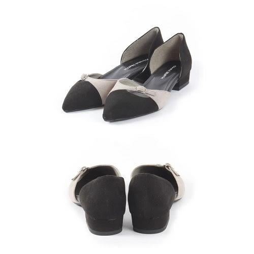 【ORiental TRaffic】潮流撞色尖楦平底鞋-摩登黑
