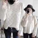 優雅小高領鏤空荷葉邊寬袖毛衣罩衫 2色【KN71266】