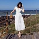 無袖洋裝-蕾絲花邊鏤空V領女連身裙73ye43【巴黎精品】