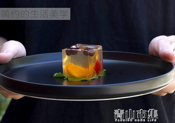 餐盤 黑色啞光圓形陶瓷平盤套裝牛排盤 大面碗日式托盤 餐具 青山市集