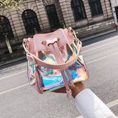 單肩包 新款夏季時尚鐳射果凍包韓版百搭小包 LR1333【Pink 中大尺碼】