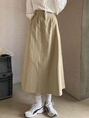 早春季2021年新款小個子A字半身長裙女高腰中長款設計感小眾裙子 童趣屋 618狂歡