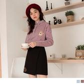 《KG0608-》高含棉直條紋可愛松鼠刺繡長袖襯衫 OB嚴選