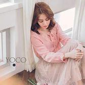 東京著衣【YOCO】氣質美人V領拼接蕾絲綁帶上衣-S.M(6022693)