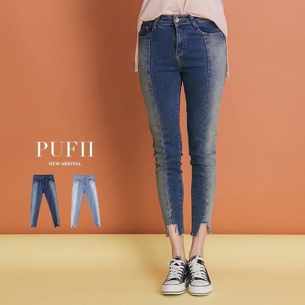 現貨 PUFII-牛仔褲 顯瘦立體車線撞色丹寧牛仔褲 2色-0308 春【CP14158】