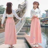 秋冬季漢服女裝傳統古裝漢元素民族風日常改良襦裙清新淡雅演出服