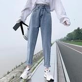 牛仔褲女 2021春秋新款牛仔褲女夏季薄款寬鬆寬管直筒煙管高腰哈倫老爹褲子【八折搶購】
