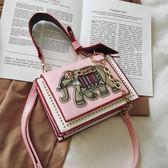 2019新款蝴蝶結刺繡小象手提包