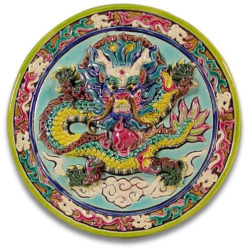鹿港窯-交趾陶居家開運裝飾壁飾~M祥龍