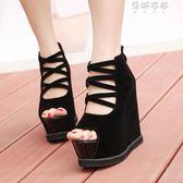 韓版性感夜店魚嘴涼鞋超高跟鞋坡跟厚底防水臺洞洞鞋女 蓓娜衣都