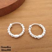 ☆§海洋盒子§☆1.4cm小圓珠圈圈針式易扣925純銀耳環