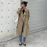 春秋裝黑色風衣女中長款小個子流行韓版過膝寬松2021新款外套女潮 快速出貨