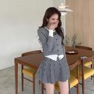 兩件式套裝.氣質優雅千鳥格紋圓領上衣+高腰針織百褶短裙.白鳥麗子