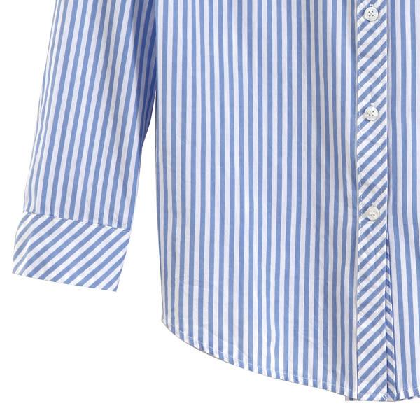 【MASTINA】直條紋文青襯衫-藍 0524