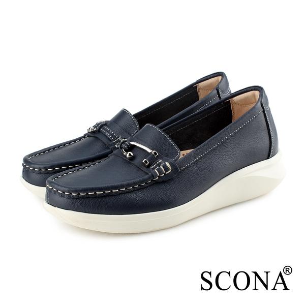 SCONA 蘇格南 全真皮 輕量舒適厚底樂福鞋 深藍色 7347-1