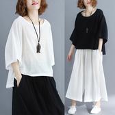 中大尺碼 女裝 腰粗遮肚子遮肉套裝顯瘦減齡洋裝 棉麻t恤時尚時髦兩件套
