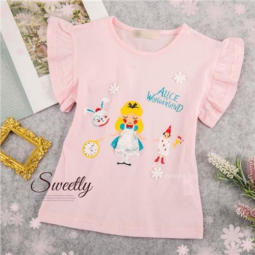 愛麗絲夢遊仙境小飛袖棉質上衣(290048)【水娃娃時尚童裝】