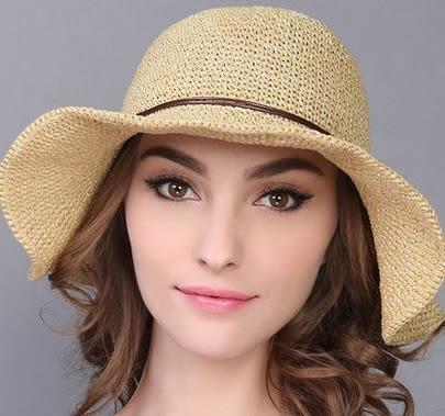 戶外防曬帽太陽帽可折疊木扣大沿沙灘帽 -charle0020