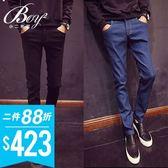 韓版超彈力厚磅單寧布料修身窄管藍牛仔長褲【NW765075】