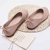 豆豆鞋 女平底圓頭蝴蝶結 奶奶鞋淺口軟底孕婦鞋