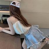 蕾絲牛仔短褲女夏季高腰寬鬆薄款褲子闊腿褲【聚物優品】