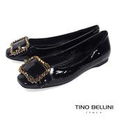 Tino Bellini 搶眼亮鑽釦帶小方頭娃鞋_ 黑B83274