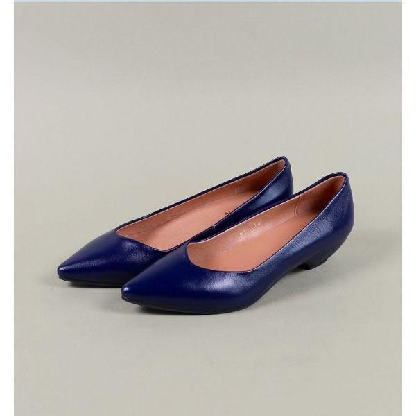 ALL BLACK 都會風情時髦尖頭素面高跟鞋 -藍色