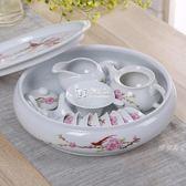 茶具整套白瓷喝茶茶具 家用中式 茶杯套裝簡約陶瓷帶茶盤茶壺igo   卡菲婭